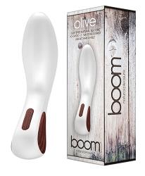BOOM Olive - vibrátor pro stimulaci bodu G v luxusním designu (bílá)