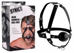 STRICT - kožený postroj na hlavu s roubíkem