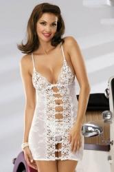 Košilka Obsessive Bride chemise + tanga zdarma (výběr ze 3 barev) velikost S/M, L/XL velikost L/XL, barva černá