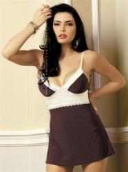 Košilka Obsessive Choco chemise + tanga zdarma (velikost S/M, L/XL) barva černá, velikost L/XL