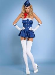 Sexy kostým Obsessive Stewardes corset 6v1 (velikost S/M, L/XL) velikost L/XL