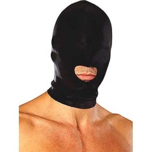 Lux Fetish Open mounth Stretch Hood - černá kukla s ústním otvorem