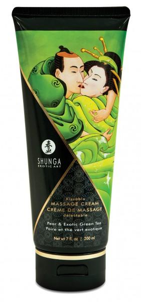 SHUNGA Pear & Green Tea 200ml - jedlý masážní krém s chutí hrušky a zeleného čaje